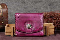 Genuine Leather Wallet Folded Short Wallet Vintage Wallet Purse For Women Men