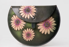 Handmade Leather crossbody purse bag clutch green purse for women leather bag