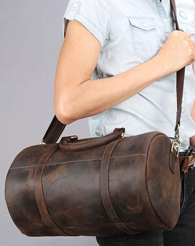 Retro Dark Brown Leather Mens Overnight Bag Duffle Bag Travel Bag Weekender Bag for Men