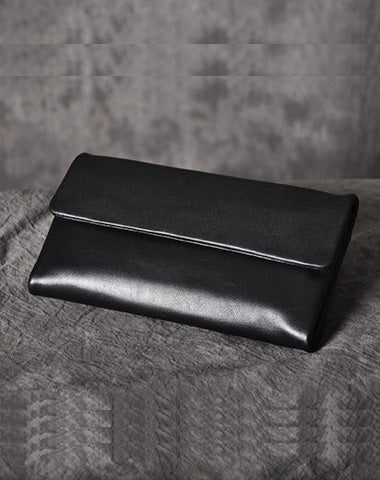 Black Leather Women Long Wallet Trifold Wallet For Women
