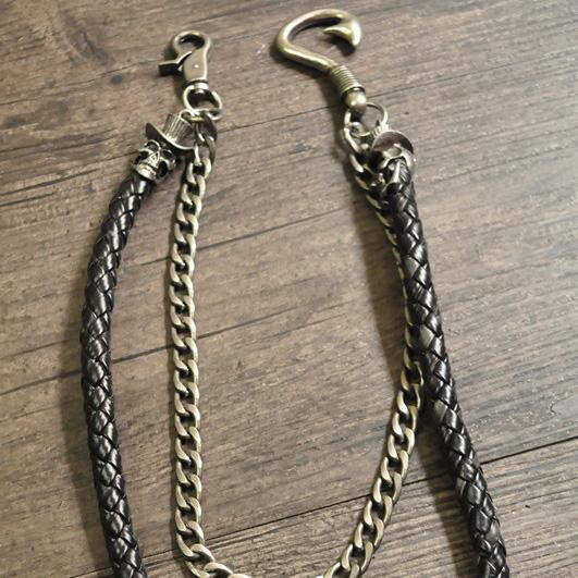 Cool Men's Black Braided Leather Double Skull Pants Chain Wallet Chain For Men