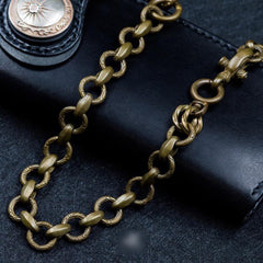 Cool Men's Handmade Pure Brass Snake Head Key Chain Pants Chains Biker Wallet Chain For Men