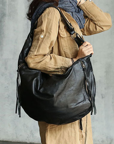 922a73b68e Vintage Black WOMENs LEATHER Hobo Handbag Fashion Hobo Shoulder Bag FOR  WOMEN