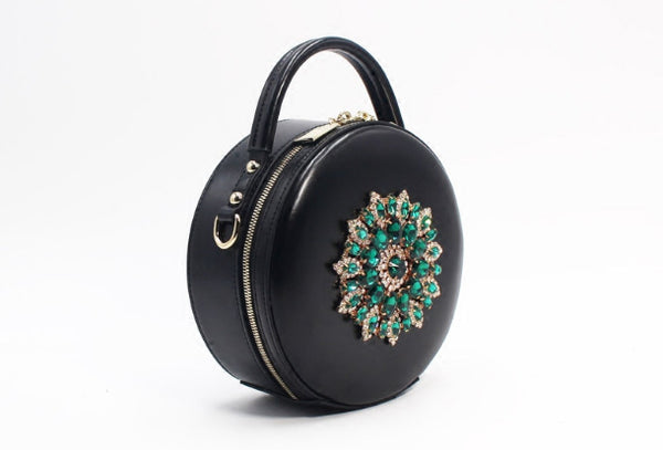 Genuine Leather Round Bag Handbag Purse Shoulder Bag Black for Women Leather Crossbody Bag