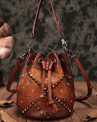 Vintage Leather Brown Bucket Handbag Shoulder Bag Purple Barrel Purse For Women