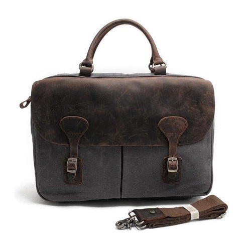 Mens Waxed Canvas Leather Briefcase Handbag Laptop Bag Business Bag for Men