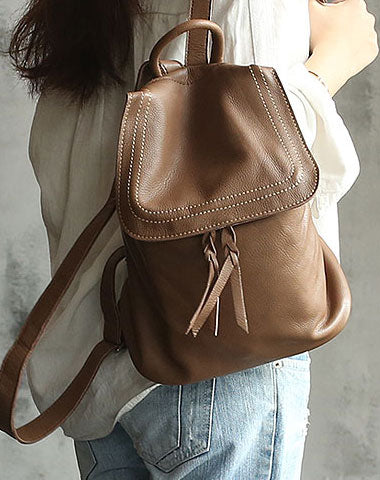 Vintage Soft LEATHER WOMEN Bucket Backpack School Backpack FOR WOMEN