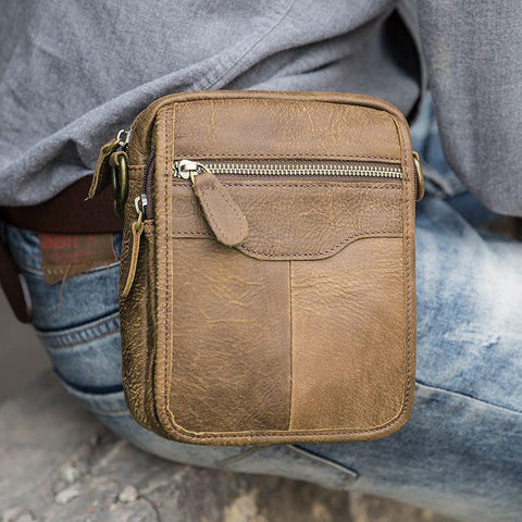 Brown Mens Leather Small Belt Pouch Mens Waist Bag Side Bag Mini Messenger Bag Phone Bag for Men