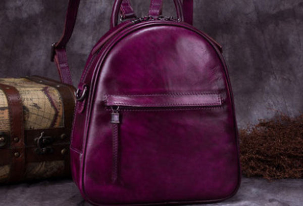 Genuine Leather Backpack Bag Vintage Handbag Shoulder Bag Purse For Women