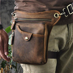 Vintage Brown Leather Men's Waist Belt Pouch Drop Leg Bags Small Side Bag For Men