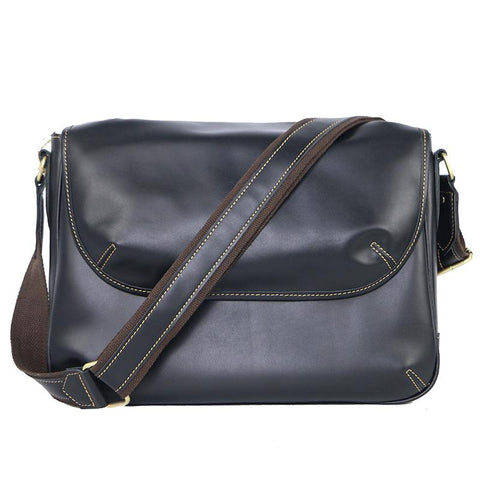 Black Leather Mens Casual 10'' Courier Bags Messenger Bags Dark Coffee Gray Postman Bag For Men