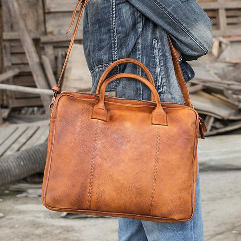 Vintage Brown Leather Mens 14 inches Briefcase Work Side Bag Brown Laptop Briefcase Business Bag for Men