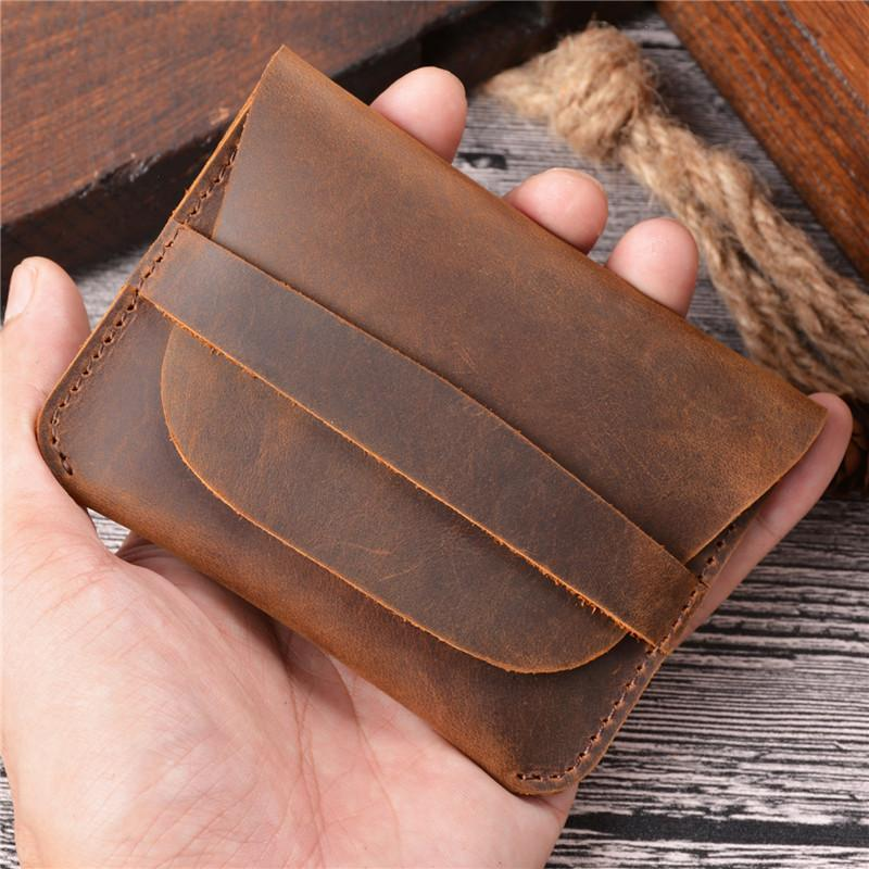 Vintage Brown Leather Men's Coin Holder Black Card Wallet Slim Short Wallet For Men