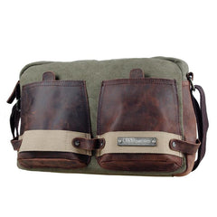 Fashion Canvas Leather Mens Side Bags Messenger Bags Army Green Canvas Canvas Courier Bag for Men
