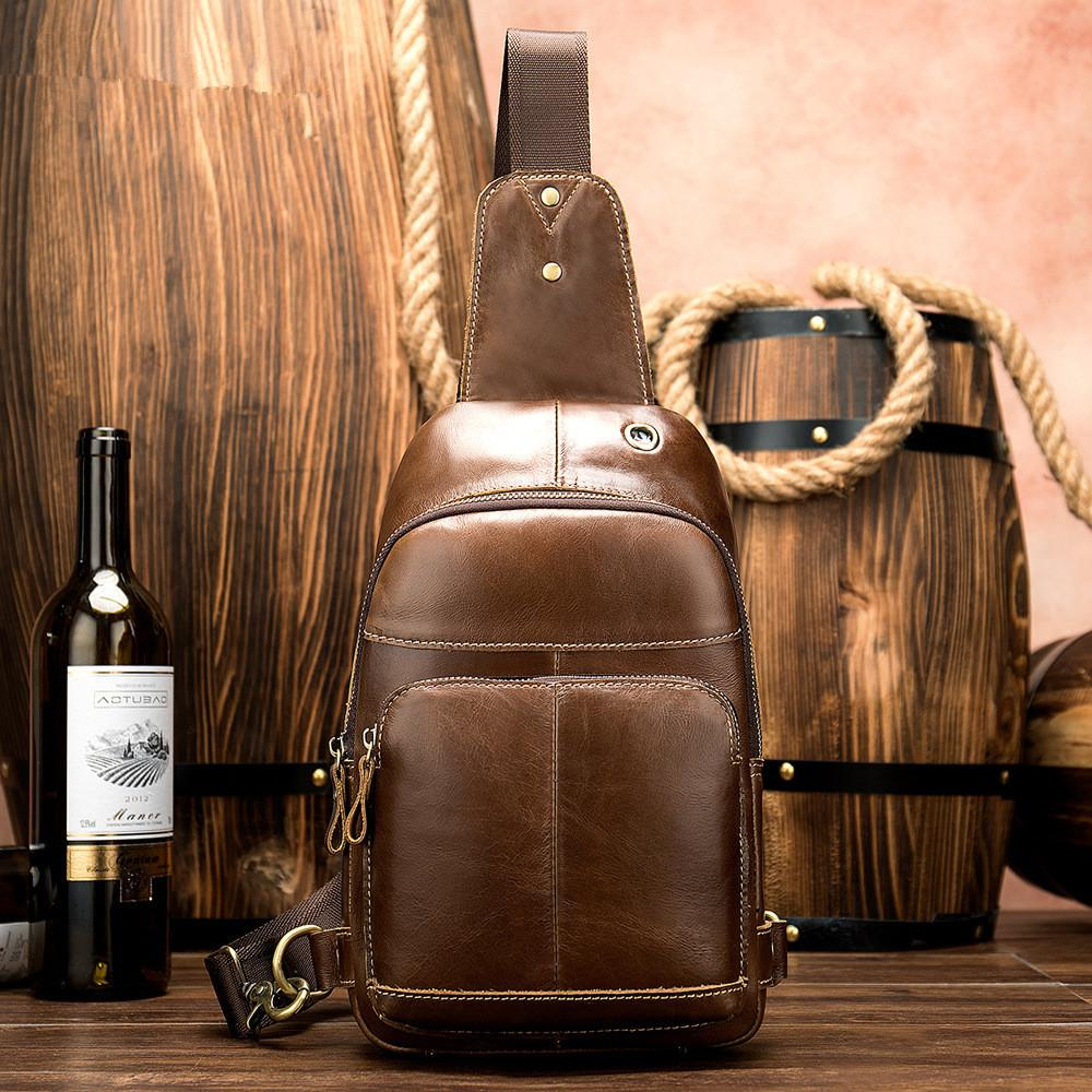 Fashionable Brown Leather Men's Chest Bag Sling Bag One Shoulder Backpack For Men