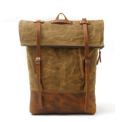 Cool Waxed Canvas Leather Mens Backpacks Canvas Travel Backpack Canvas School Backpack for Men