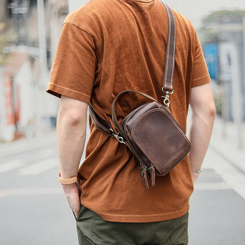 Dark Brown Leather Mens Casual Mini Courier Bag Messenger Bags Belt Bag Belt Pouch For Men
