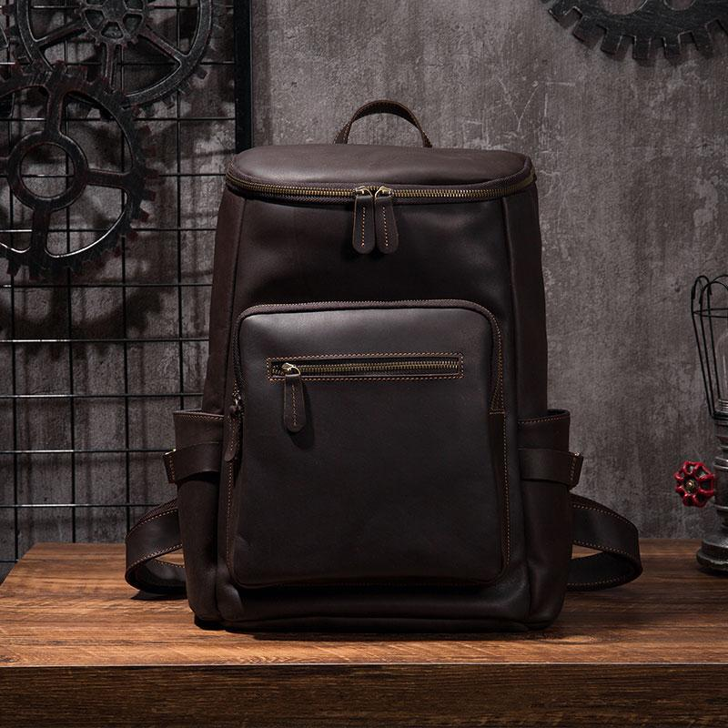 Cool Coffee Mens Leather Hiking Backpack Travel Backpack Leather Backpack for Men