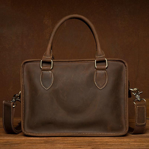 Vintage Dark Brown Leather Small Mens Briefcase Cool Work Bag Messenger Bags for Men