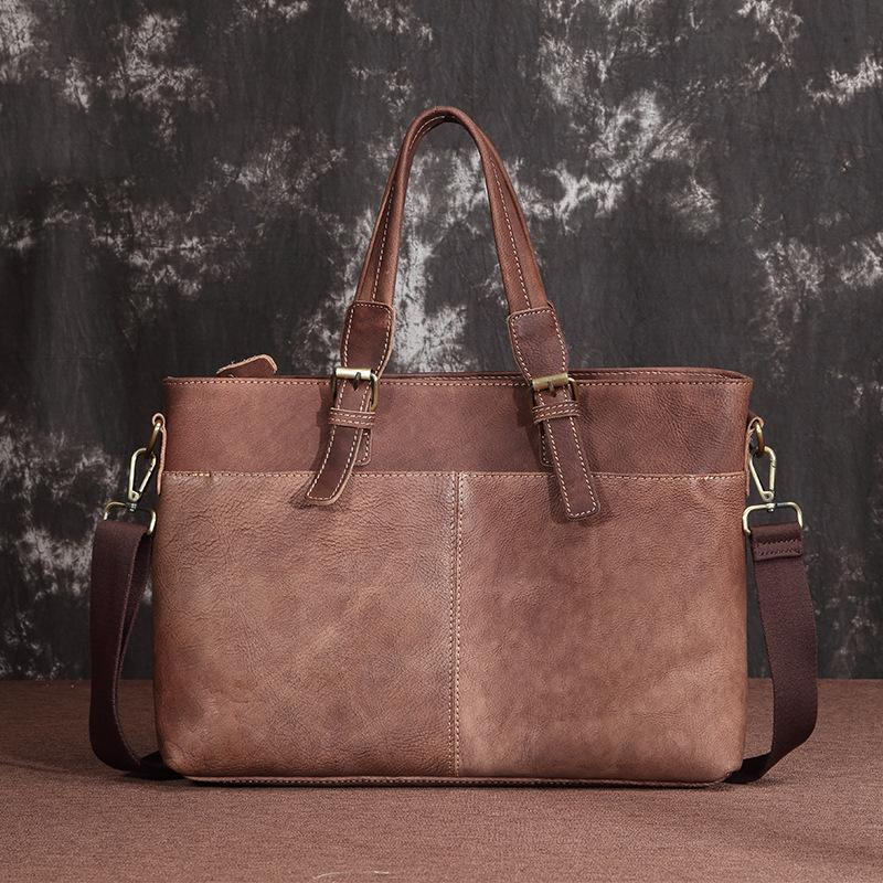 Brown Cool Leather 14 inches Light Brown Briefcase Messenger Bag Handbag Shoulder Bag For Men