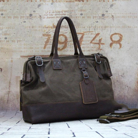 Vintage Leather Canvas Mens Handbag Briefcase Waxed Canvas Briefcase For Men