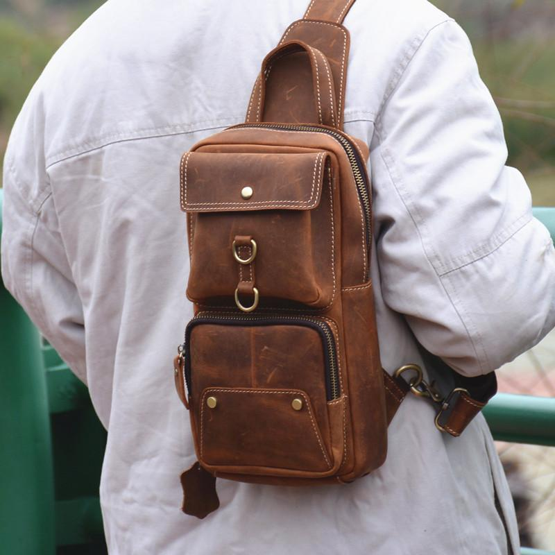 Cool Brown Leather Men's Sling Bag Chest Bag Brown One Shoulder Backpack For Men