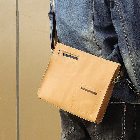 Brown Leather Men's File Bag Clutch Bag Side Bag Wristlet Bag For Men