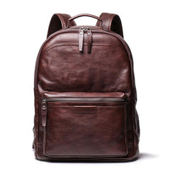 Cool Brown Leather Men's 15'' Laptop Backpack School Backpack Travel Backpack For Men