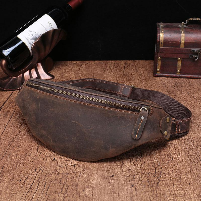Vintage Brown Leather Men's Fanny Pack Coffee Waist Bag Chest Bag For Men