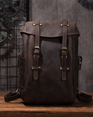 Coffee Cool Mens Leather Hiking Backpack Large Travel Backpack Leather Backpack for Men