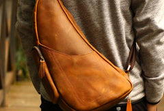 Genuine Leather Mens Cool Messenger Bag iPad Bag Chest Bag Bike