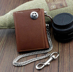 BADASS BROWN LEATHER MENS TRIFOLD SMALL BIKER WALLET CHAIN WALLET WALLET WITH CHAIN FOR MEN