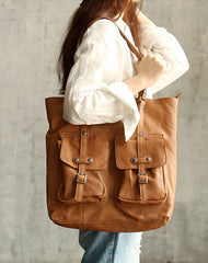 Vintage WOMENs Brown Large LEATHER Tote Bag Fashion Tote Purse FOR WOMEN