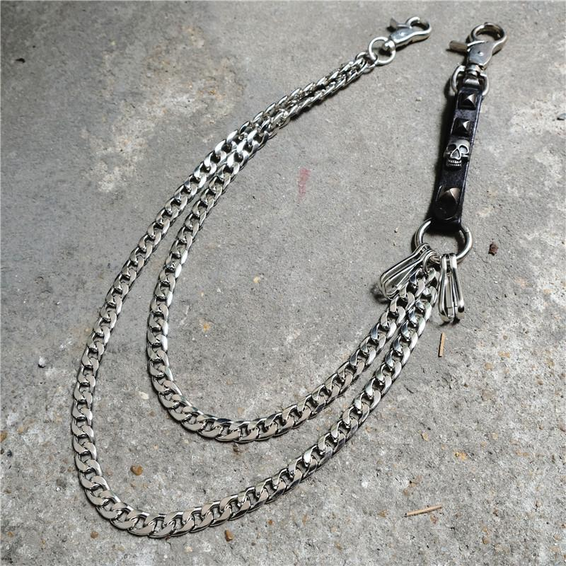 Badass Mens Skull Double Stainless steel Key Chain Long Pants Chain Wallet Chain For Men