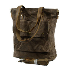 Mens Waxed Canvas Tote Bag Tote Purse Canvas Shoulder Bag for Men