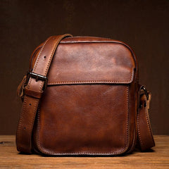 Vintage Brown Leather Small Vertical Postman Bag Messenger Bag Courier Bag for Men