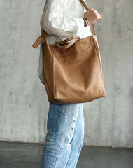Vintage WOMENs LEATHER Handbag Tote Bag Work Tote Shoulder Purse FOR WOMEN