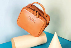 Genuine Leather Handbag Cube Box Crossbody Bag Shoulder Bag Purse For Women