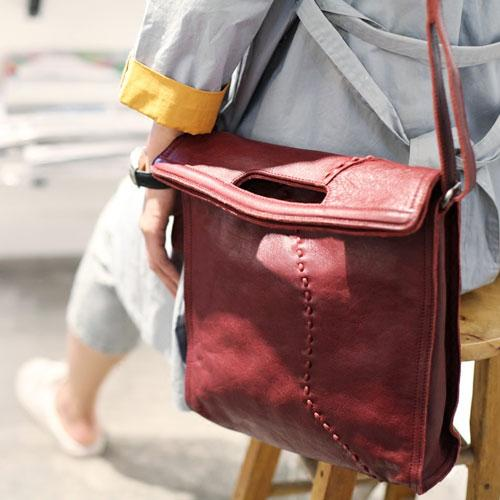 Leather Burgundy Bucket Bag Folded Bucket Style Purse - Annie Jewel