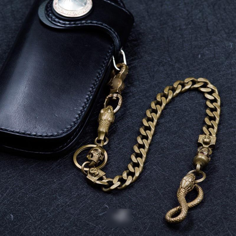 Cool Men's Handmade Pure Brass Python Head Key Chain Pants Chains Biker Wallet Chain For Men