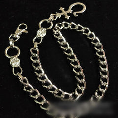 Badass Mens Silver Long Stainless steel Cross Key Chain Pants Chain Wallet Chain For Men