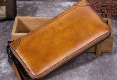 Genuine Leather Wallet Zip Long Wallet billfold Wallet Purse For Men Women