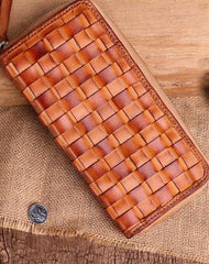 Cool Tan Mens Leather Long Wallet Braided Zipper Long Wallet for Men
