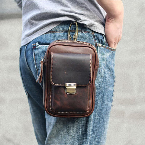 Black Vintage Leather Mens Mini Messenger Bag Waist Bag Dark Brown Belt Pouch Bag For Men