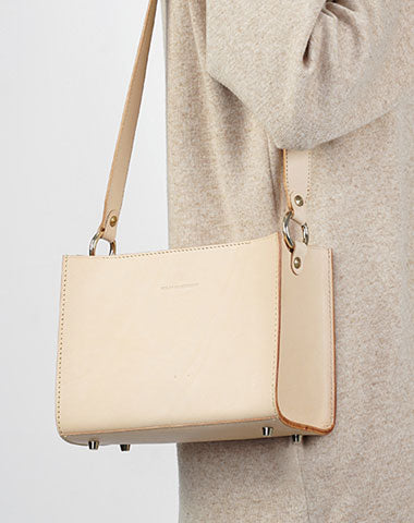 Fashion Beige Leather Women Box Tote Bag Box Handbag Shoulder Bag For Women