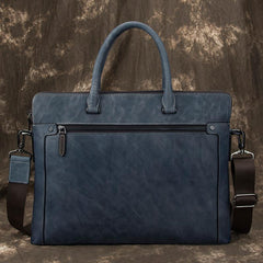 Brown Leather Men 14 inches Vintage Briefcase Handbag Blue Laptop Handbag Messenger Bag For Men