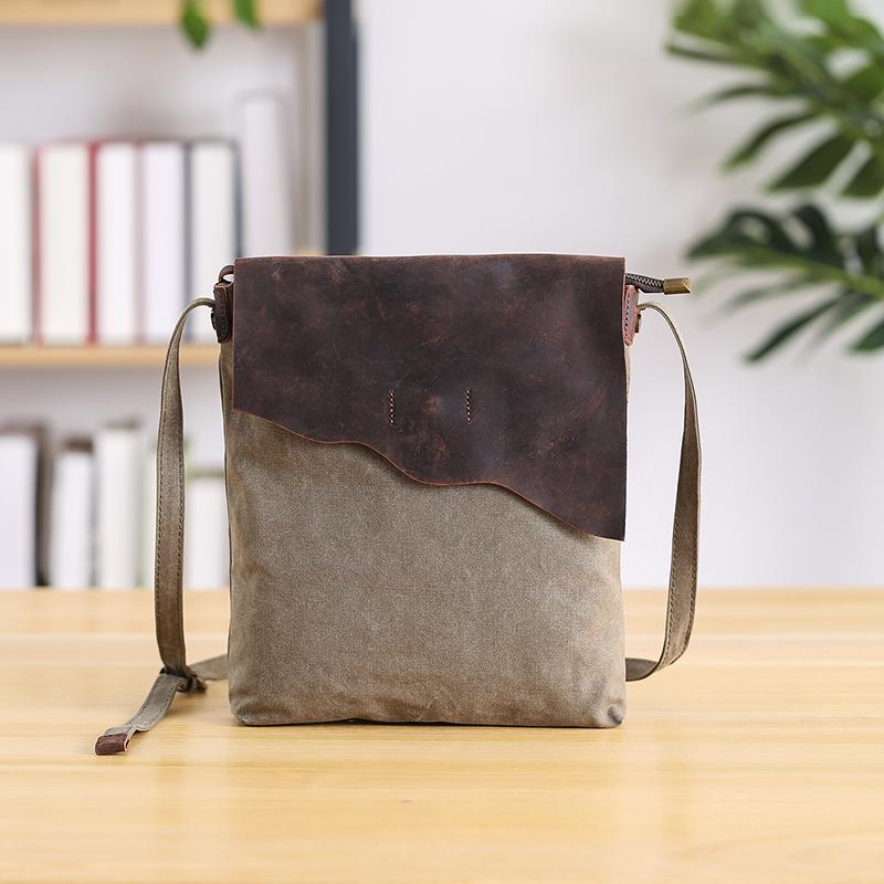 "Leather Canvas Mens 12"" Side Bag Vertical Courier Bag Gray Postman Bag Messenger Bag for Men"