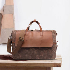 Mens Canvas Leather Briefcase Handbag Laptop Bag Business Bag for Men