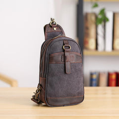 Canvas Leather Mens Sling Bag Green Chest Bag One Shoulder Backpack for Men