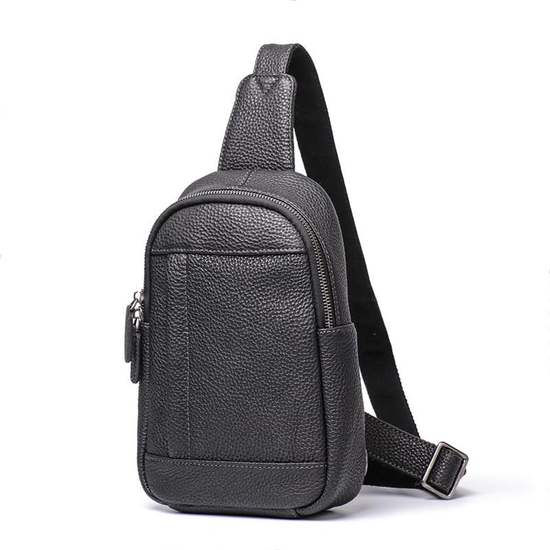 Trendy Black Leather Men's Sling Bag Chest Bag Brown Sling Crossbody Bag One Shoulder Backpack For Men